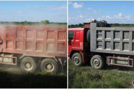 Phun cát làm sạch sơn và tẩy rỉ xe tải, xe trở rác, xe bồn trộn bê tông