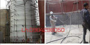 phun cát tẩy rỉ bồn bể silo